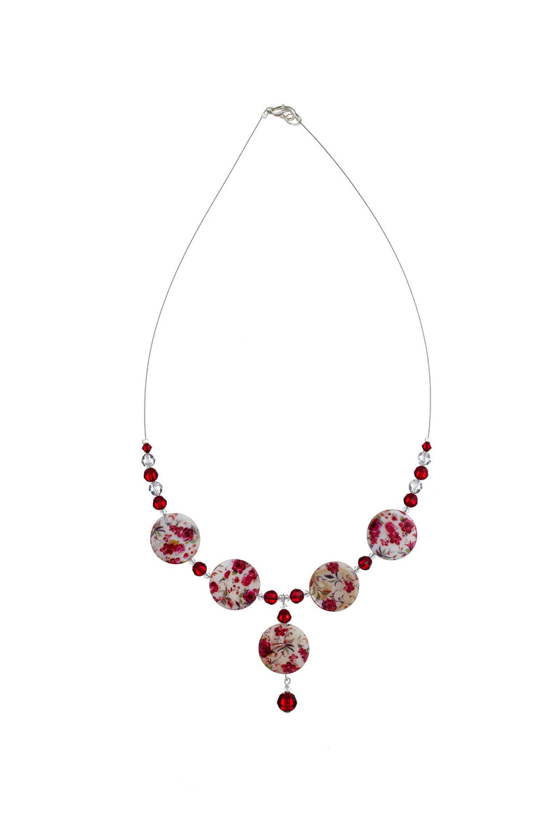 Printed Mother of Pearl Drop Necklace Rose