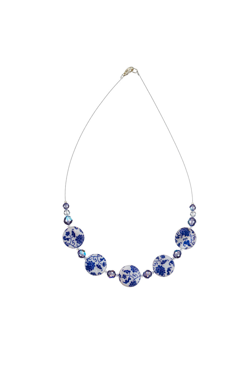 Printed Mother of Pearl Necklace Tanzanite/Blue