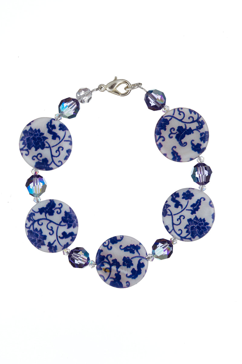 Printed Mother of Pearl Bracelet Tanzanite/Blue