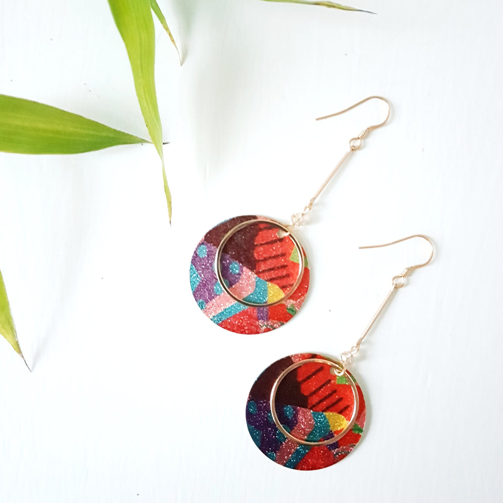 Abstract Bar Drop Earrings