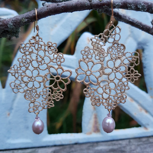 Large Edwardian Lace Earrings