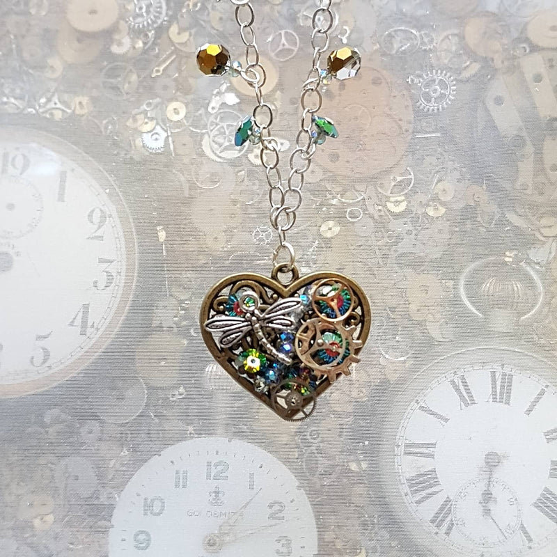 Queen of Hearts Green Steampunk Necklace
