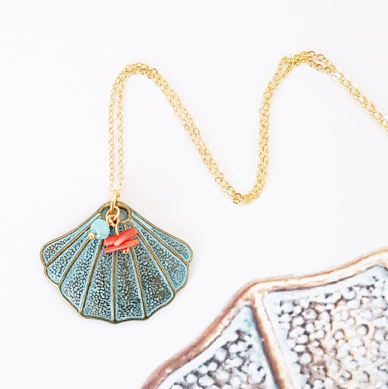 Clam Shell & Coral Necklace