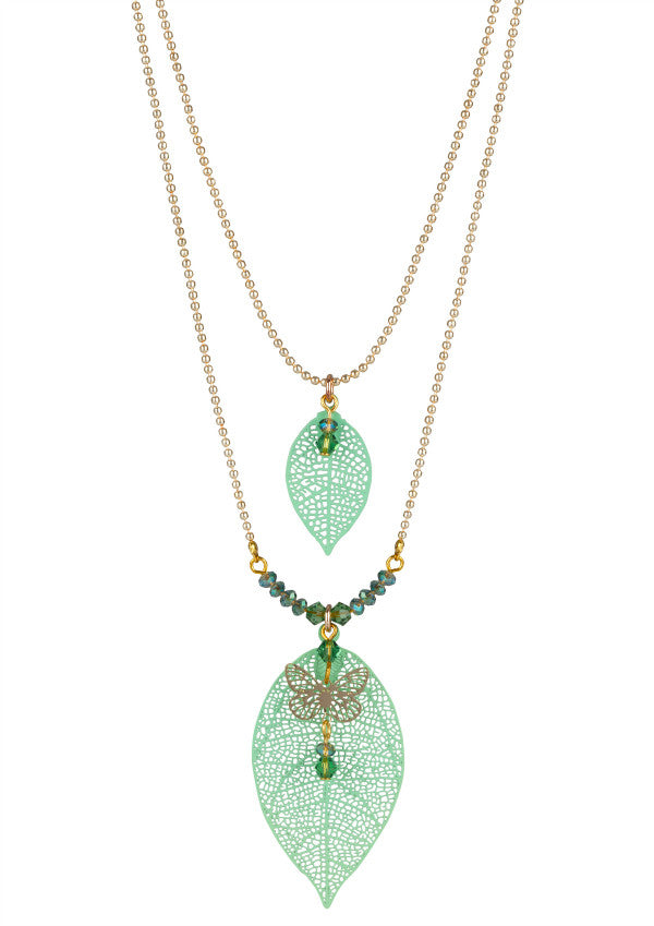 Green Leaf and Crystal Necklace with Butterfly
