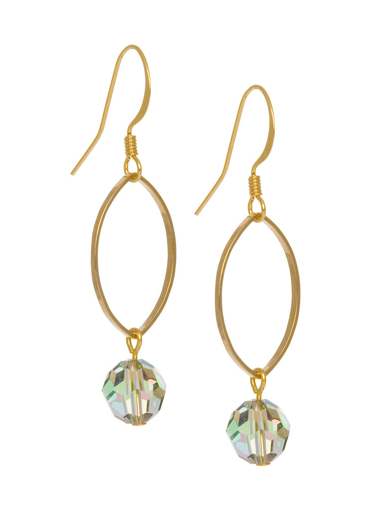 Oval Drop with Swarovski Crystal Earrings