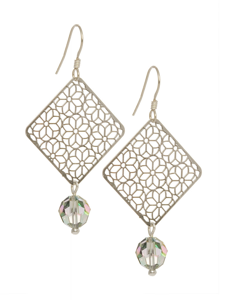 Filigree Square Earrings with Swarovski Crystal