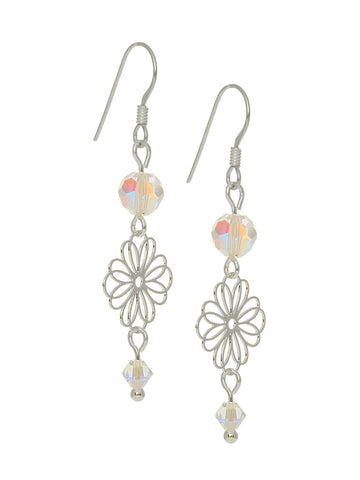 Small Filigree and Swarovski Crystal Earrings