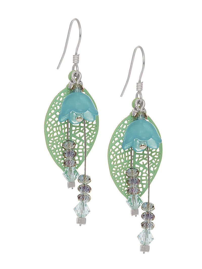 Green Filigree Leaf with Flower Earring Small
