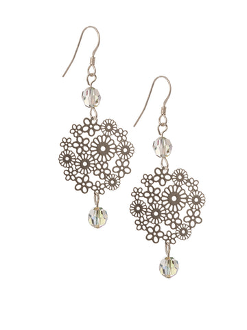 Filigree Flower Earrings with Swarovski Crystal's