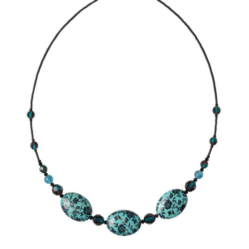 3 Turquoise with Flowers Bead Necklace