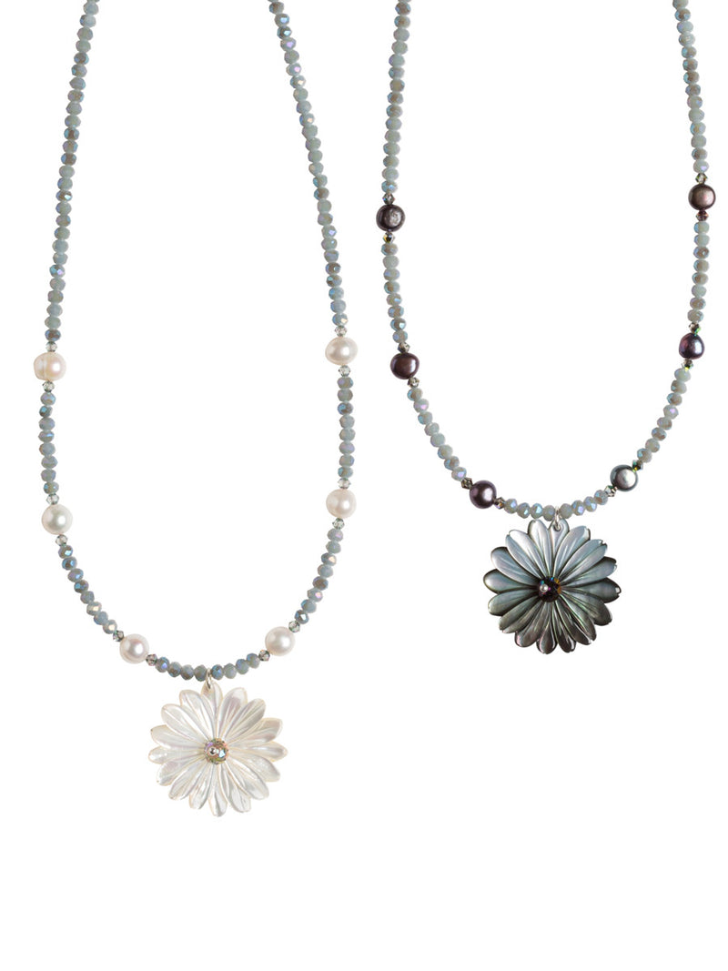 Mother of Pearl Daisy Necklaces