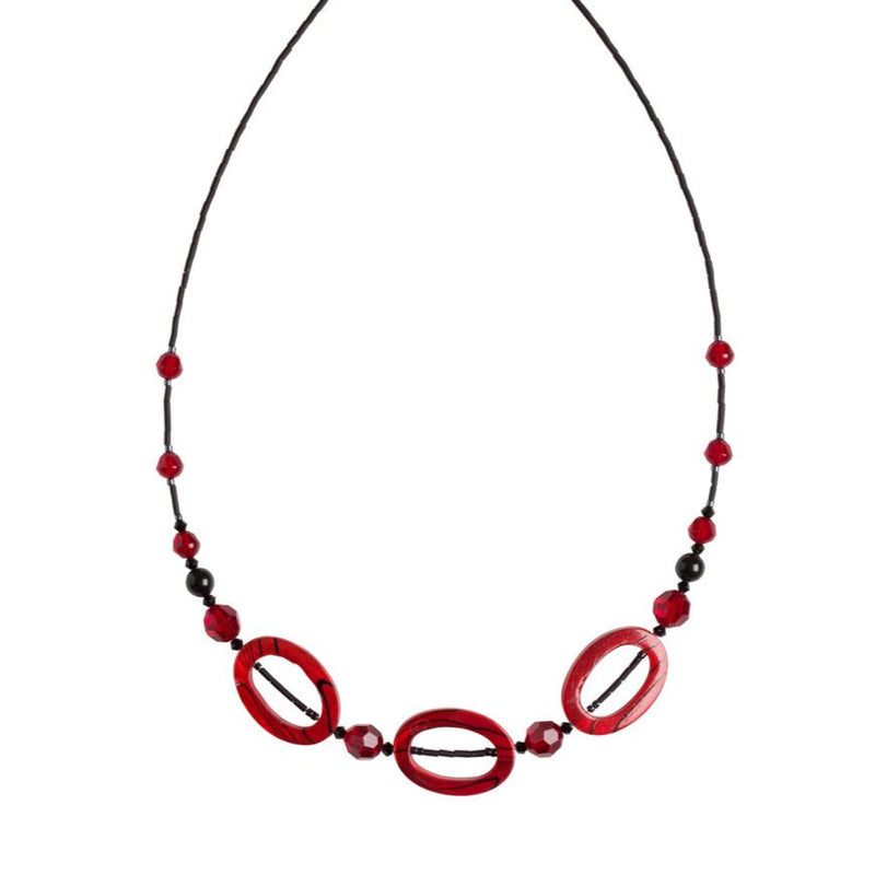 3 Red Shell Bead Necklace