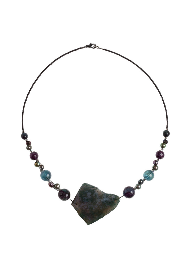 agate sapphiremoongalleryandgift and silver products necklace rain free coast moss sterling shipping flourite
