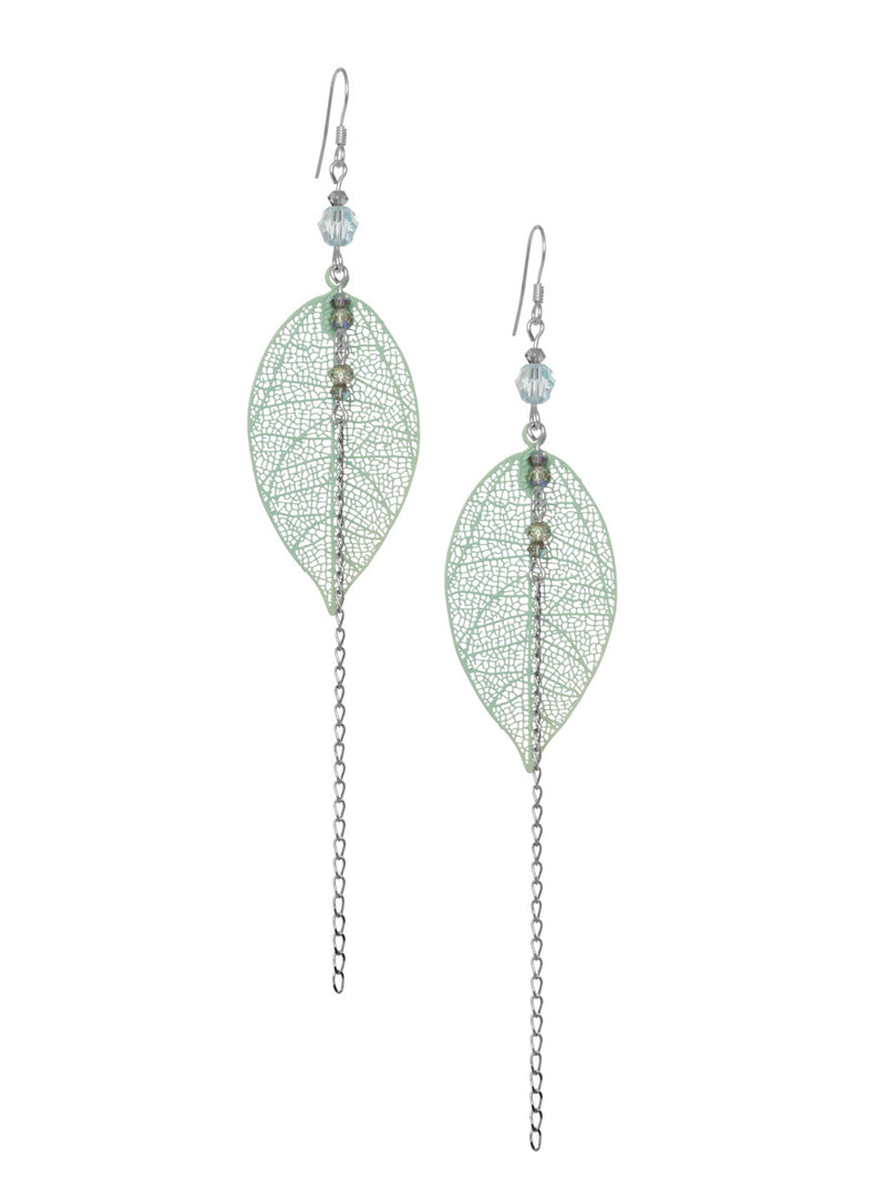 Large Leaf and Chain Earrings