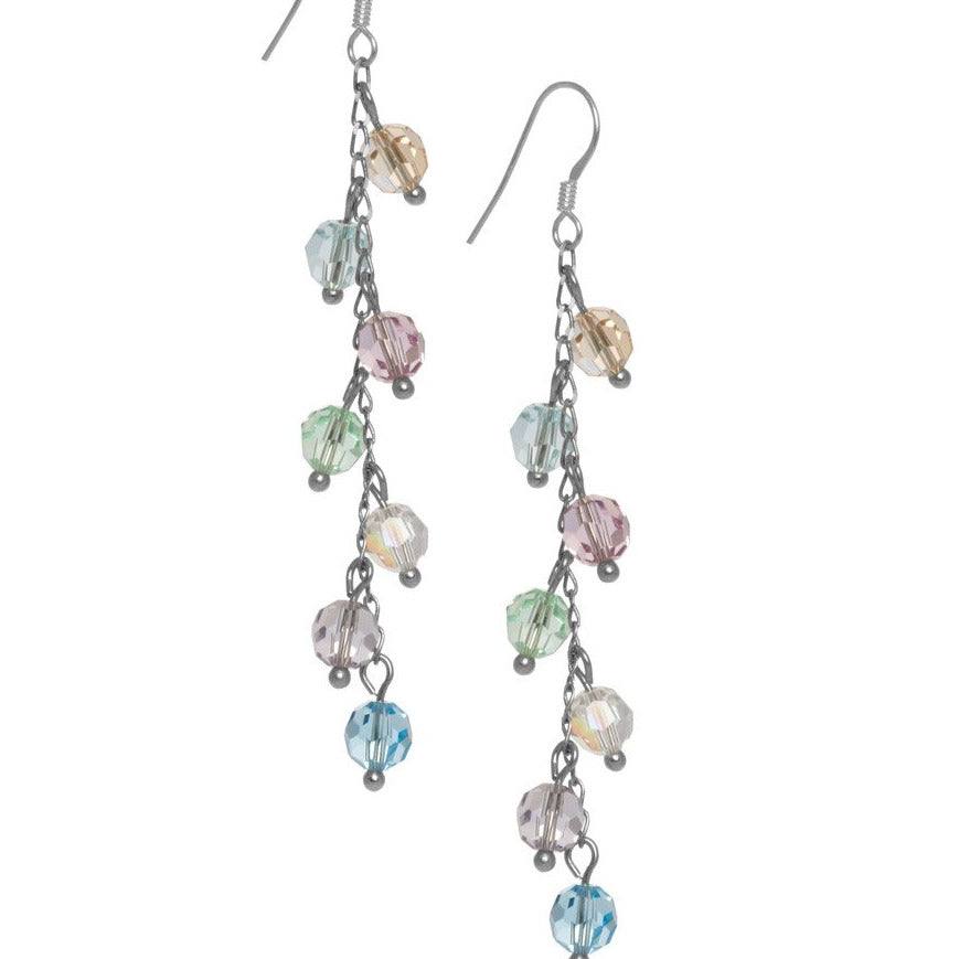 7 Drop Crystal Bead Earrings.