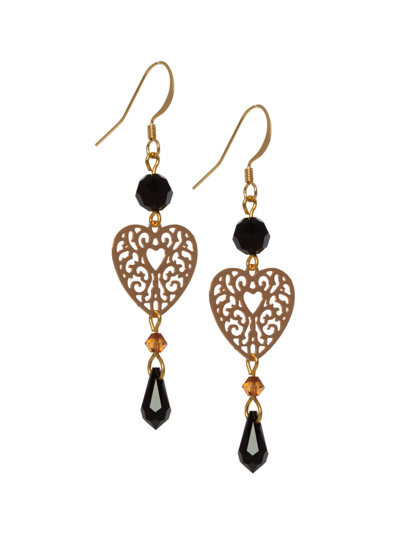 Filigree Heart with Black Swarovski Drop Crystals
