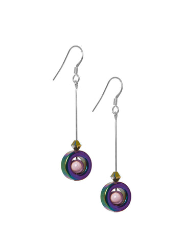 Hematite long Drop Earring
