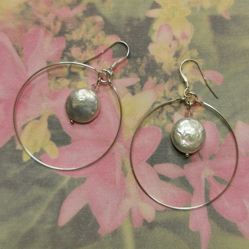 Freshwater Coin Pearl, Large Loop Earrings.
