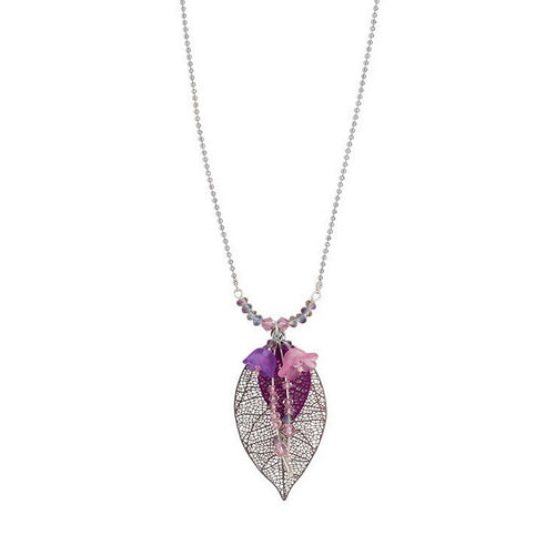 Silver and Amethist Filigree Leaf with Flowers Necklace
