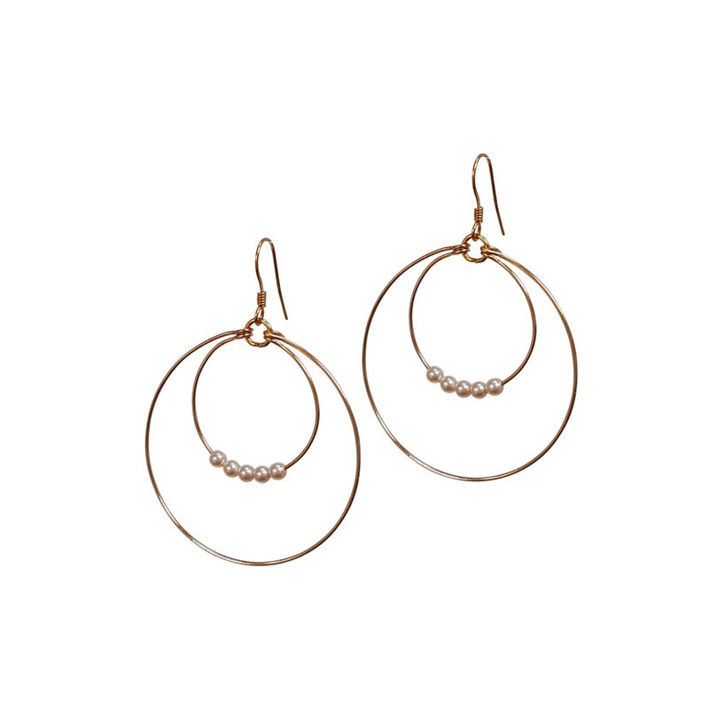 Mini Pearl Double Loop Earrings
