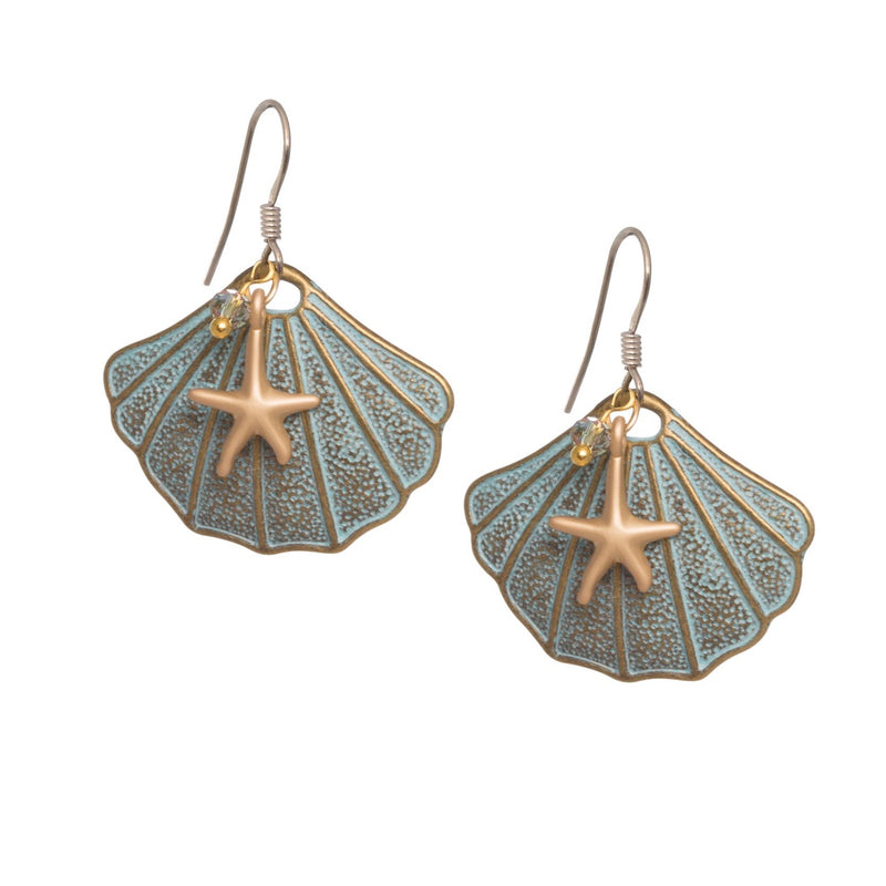 Verdigris Shell with Star Fish Earrings