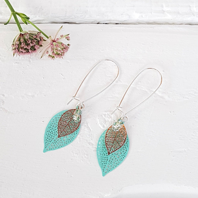 Filigree Leaf Long Drop Earrings