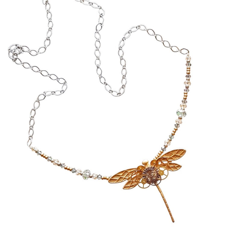Beaded Steampunk Dragonfly Necklace.