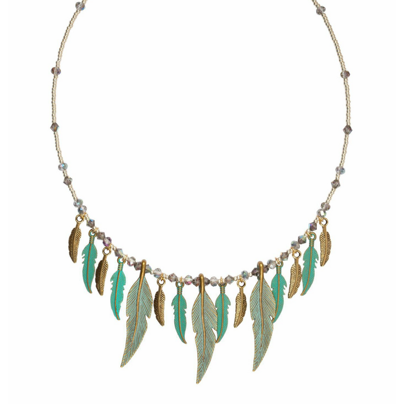 Verdigris Feather and Crystals Necklace