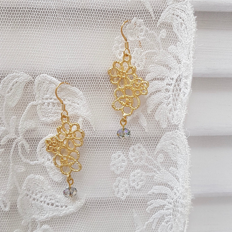 Edwardian Lace Crystal Drop Earrings