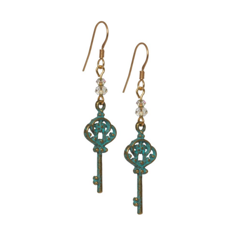 Verdigris Key Earrings