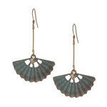 Verdigris Fan Long Drop Earring