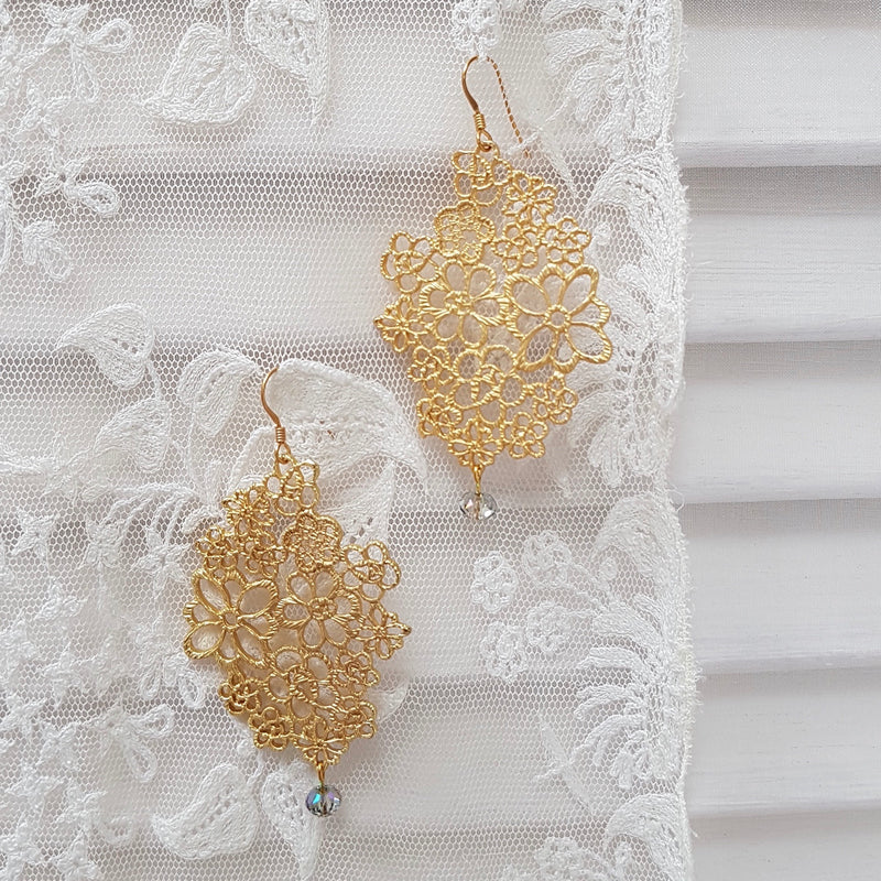 Edwardian Lace Crystal Drop Large Earrings