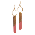 Rose wood & Resin Goddess Earrings