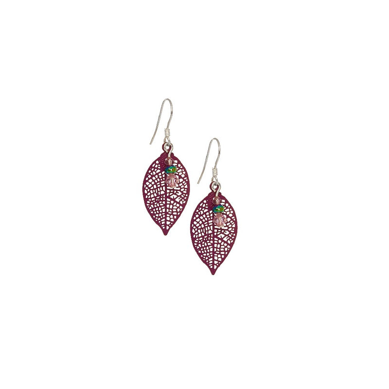 Lavender Filigree Leaf Small Earrings