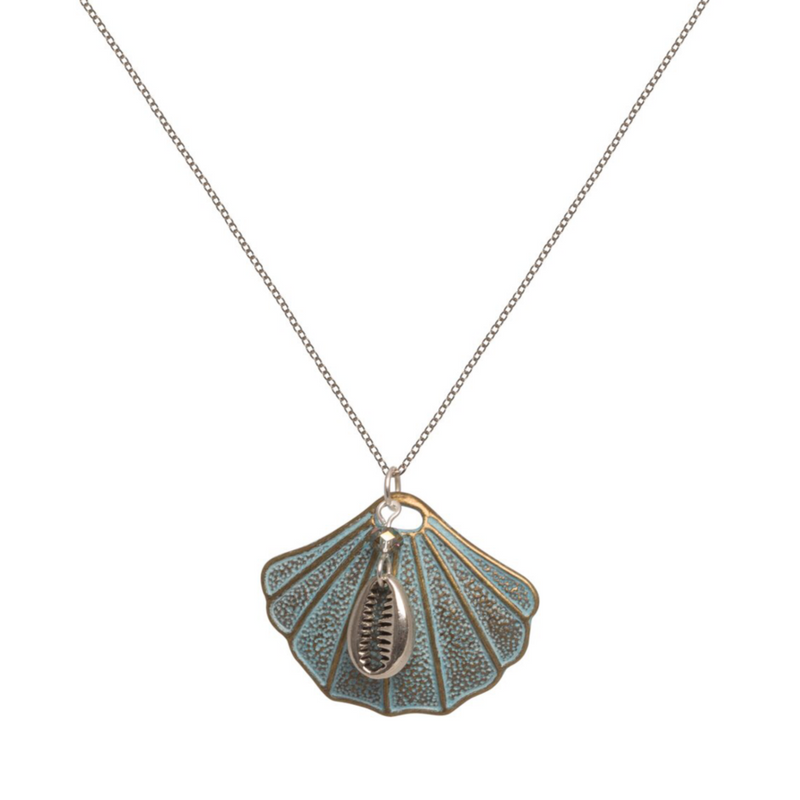 Verdigris Shell and Chain Necklace