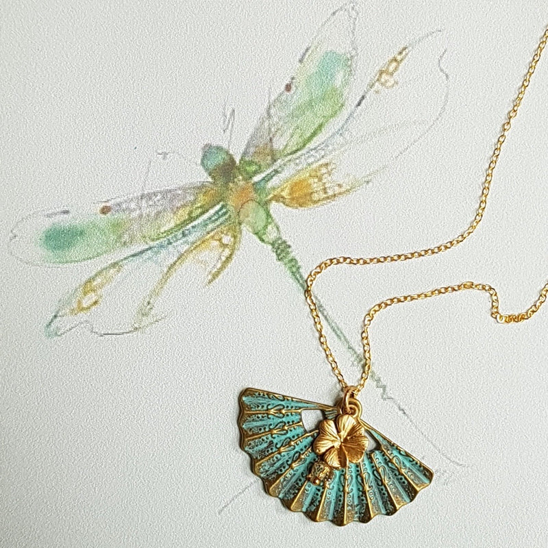 Verdigris Fan Necklace