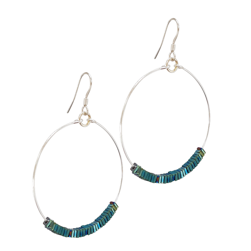 Hematite Loop Earrings