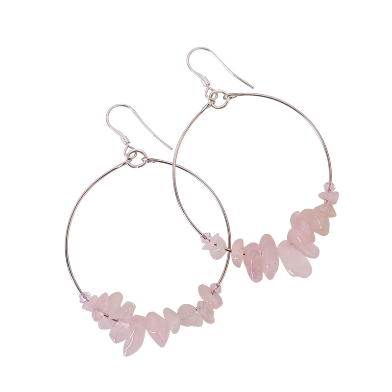 Chip Loop Earrings. Rose Quartz