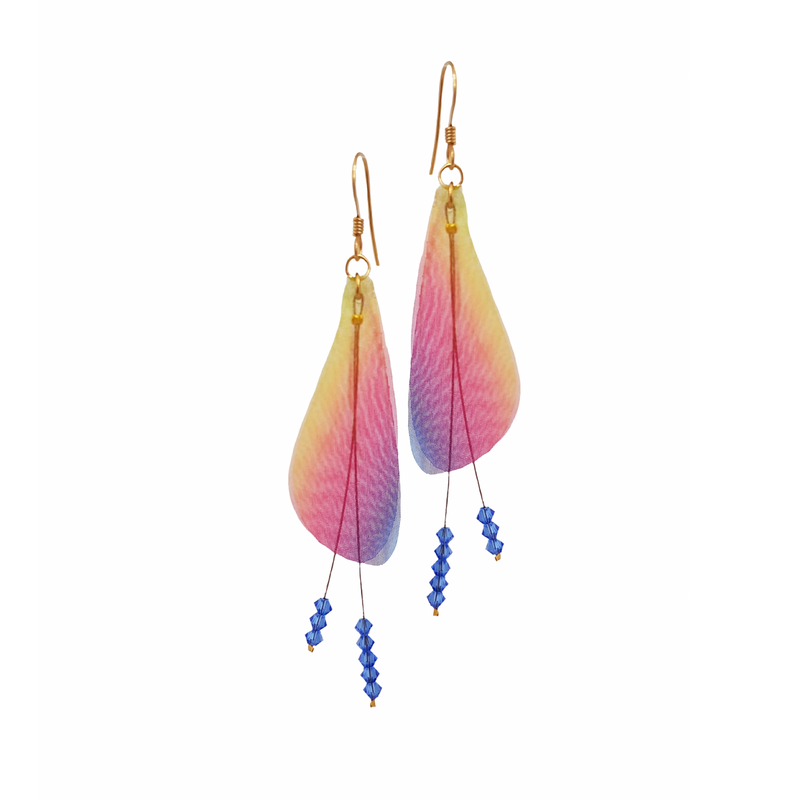 Wings Red Blue & Yellow Mix Earrings