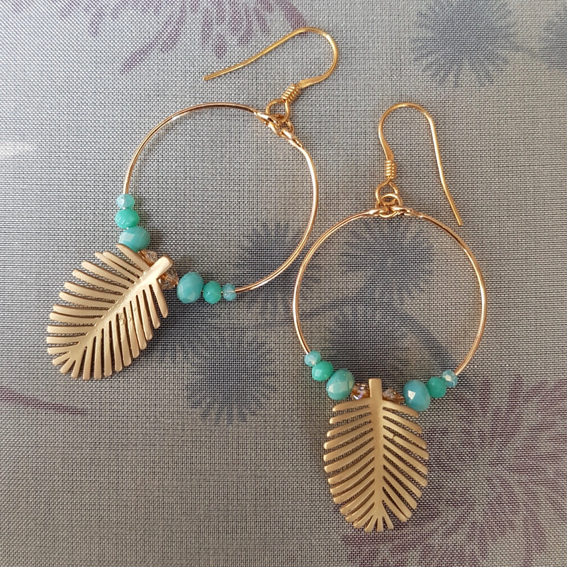Palm Leaf Loop Earrings, Turquoise Crystal's.