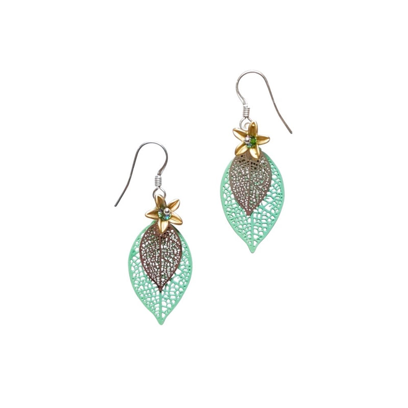 Filigree Leaf & Flower. Earrings.