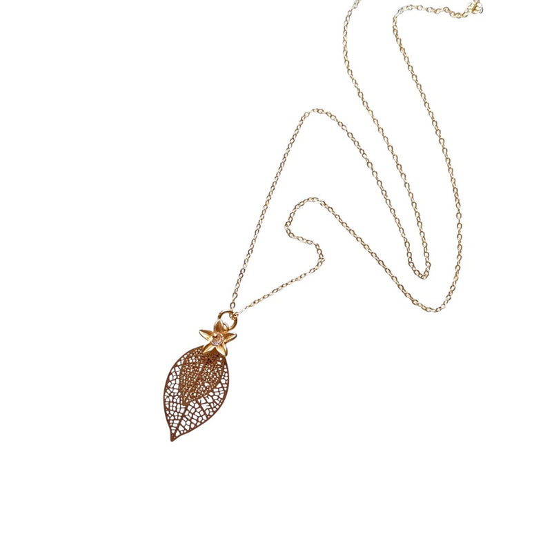 Filigree Leaf & Flower. Necklace.