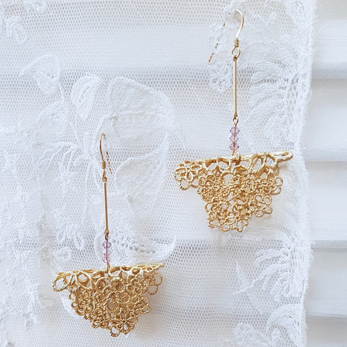 Edwardian Lace Bar Drop Earrings