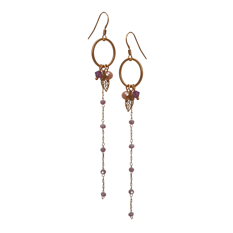 Cherry Leaf Long Drop Earrings