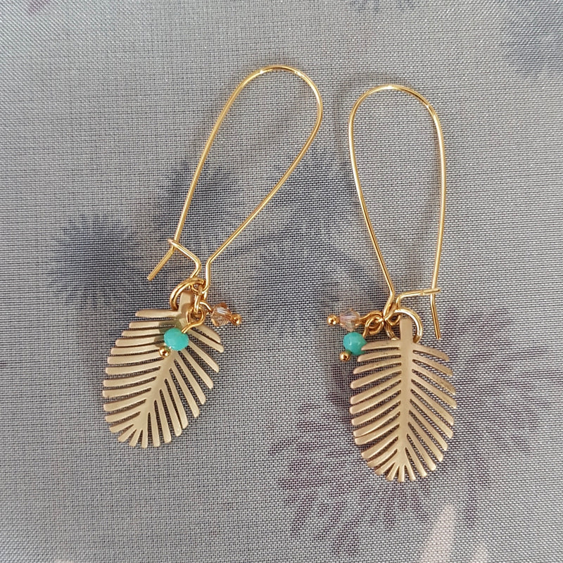 Palm Leaf Long Loop Earrings, with Turquoise or Coral crystal's.