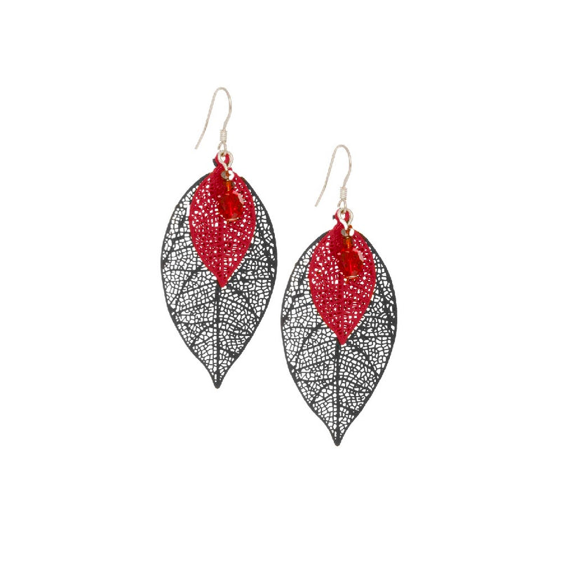 Filigree Large Leaf Earrings, Black/Red
