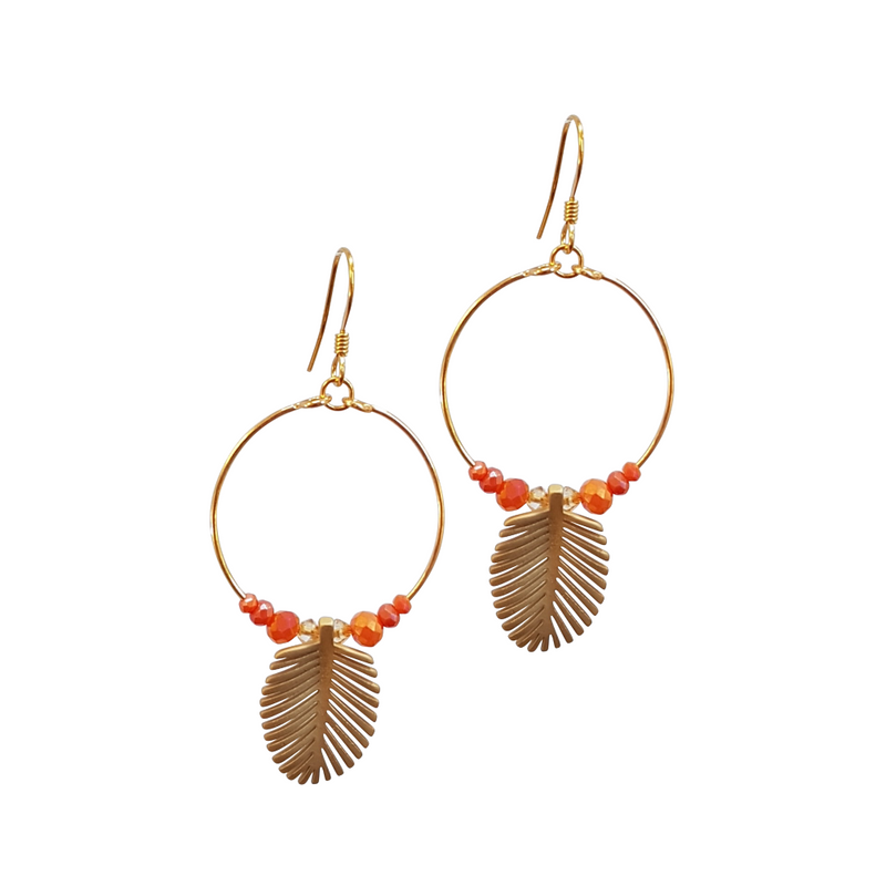 Palm Leaf Loop Earrings, Coral Crystal's.