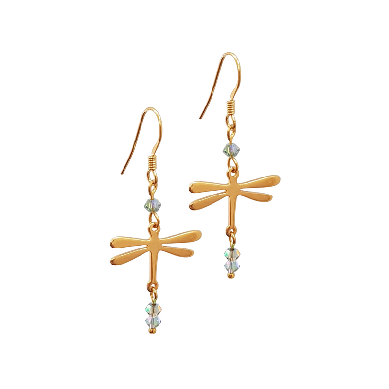 Dragonfly Golden Earrings