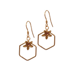 Vintage Flower Hexagon Drop Earrings