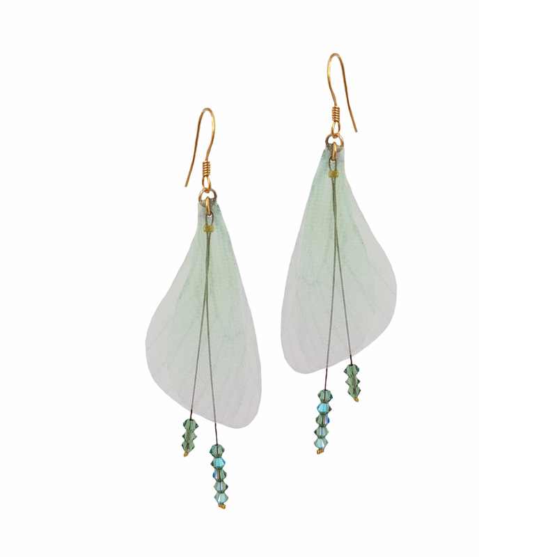 Wings Light Green Earrings